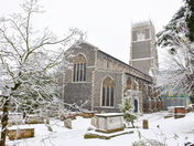 St. Mary's Church Woodbridge in the snow