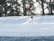 Winters scene on 18th green at BUNGAy Golf Club