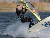 Nathan Cozens enjoying Storm Elleanor at Alton Water 3-1-18