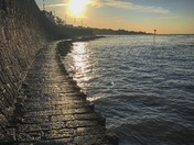 Sea wall sunset