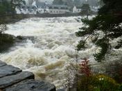 Thundering river in flood