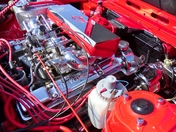 Red Triumph Engine Compartment