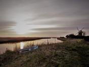 Mautby windmill as sun sets