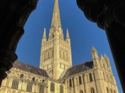 Norwich Cathedral in sunlight