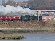 Oliver Cromwell Train steaming through Brantham 22/02/2018