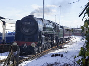 Oliver Cromwell in the Snow today at Norwich Station