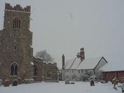 Groton church in the snow