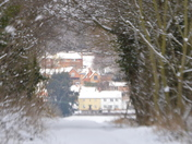 Playford Village In The Snow framed by the Trees