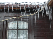Icicles on the cabin.