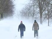 Snow blizzard walk