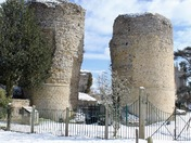 Bungay Castle in the snow