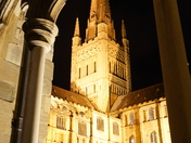 The Spire through the Cloisters.