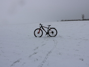 Mountain bike and a bit of snow
