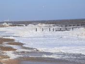 High Tide today at Lowestoft on the North Sea Wall