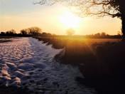 Snowy Sunrise Gatedown Lane Weston