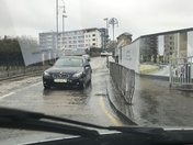 Car flooded by construction site in Barking
