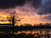 Fen Farm tonight with a beautiful sunset reflecting into the floods.