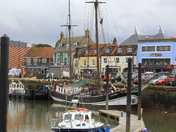 Busy harbour at low tide