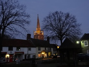 Woolpit village at night.