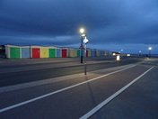 Beach huts in the twilight