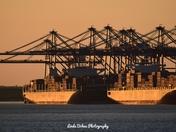 Sunset at Felixstowe Docks.