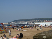 crowded Weston beach