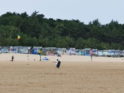 Wells Beach And Colorful Beach Huts.