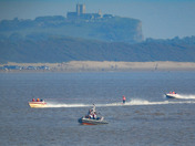 Waterskiing race in the bay