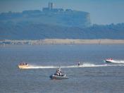 Waterskiing race in the bay