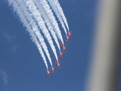 Red arrows at Norwich air port preparing for Gt Yarmouth air show ,