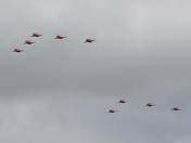 The Red Arrows over Ipswich during the RAF 100 years anniversary.
