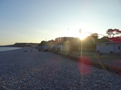 A sunny summer evening on Budleigh Salterton beach