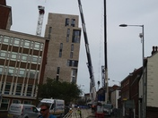 Dismantling the tower crain in all saints green