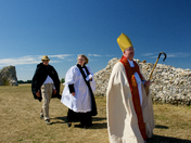 The Bishop of Norwich The Rt Revd Graham James arrives at St Benets Abbey.