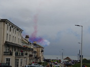 Blue, Red and White smoke over the skies of Sidmouth