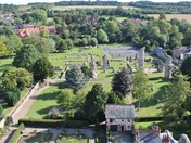 Suffolk Landscapes - Abbey Ruins, Bury St Edmunds, from top of the bell  tower