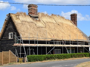 Bucklesham Forge being rethatched.