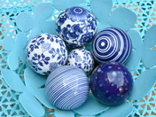 Decorative blue ceramic garden ornaments