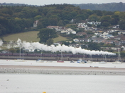 Flying Scotsman speeds along across the Exe Estuary