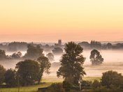 The Waveney from the hill looking over Fen Farm. in the mist.
