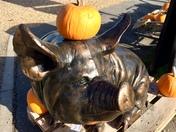 Bronze pig celebrating Halloween