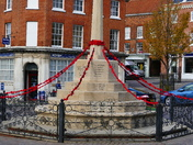 FAKENHAM WAR MEMORIAL DECORATED IN HAND MADE POPPIES