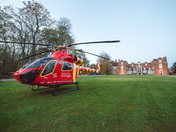Air Ambulance lands at Christchurch Park outside the Mansion