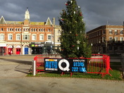 Christmas tree now up in Exmouth Strand.