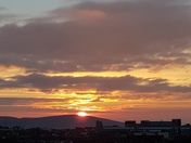 Sunset over the town and Brean Down