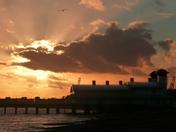 Sun setting at Felixstowe
