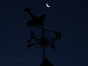 Moon and Venus in conjunction with weathervane over Harleston