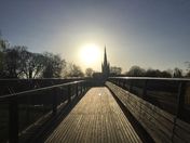 Winter sun over the Cathedral from Jarrod Bridge