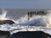Breaking waves on Lowestoft beach