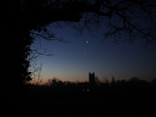 Venus, Jupiter, Antares and St Mary's Redenhall in Conjunction